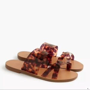 J.Crew Leopard Slides Sandals Made in Italy PVC